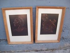 Signed Chalk Drawings - Woman Figure & Woman with Child on her Back Peering