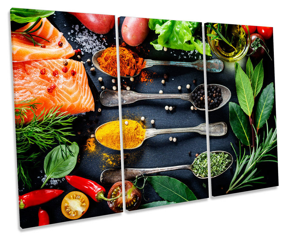 Fresh Food Cooking Kitchen Picture TREBLE TREBLE TREBLE CANVAS WALL ART Print 5c6c45