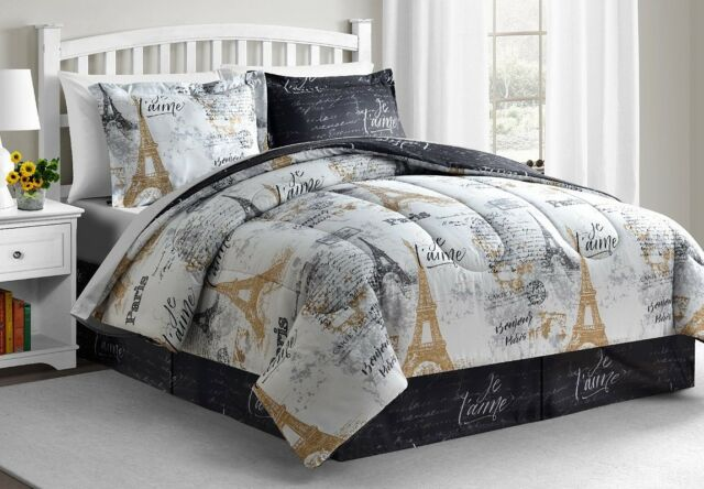 Paris Eiffel Tower Black White Gold Reversible Cal King Comforter Set 8 Pc For Sale Online Ebay