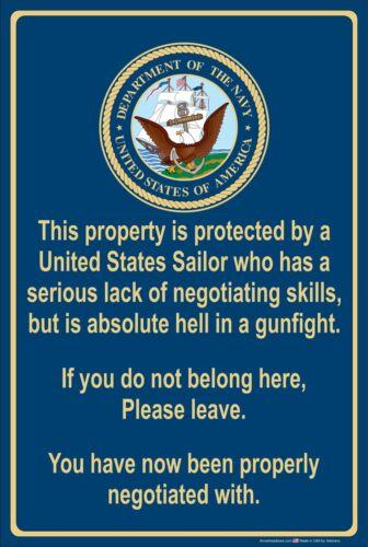 "Property Protected by Sailor U.S Navy 8/"" x 12/"" Aluminum Metal Sign"