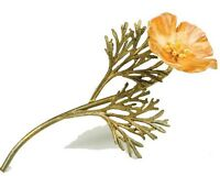 California Poppy Pin Brooch By Michael Michaud - 24k Gold Plate 5786bzyp