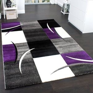 Check Rug Purple Grey Black and White Contour Cut Mat Woven Soft ...