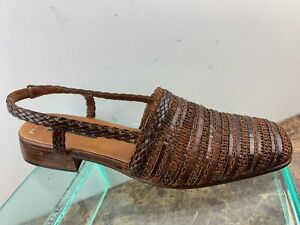 Sesto-Meucci-Brown-Woven-Leather-SlingBack-Cuban-Heel-Sandals-Womens-8-5N-Italy