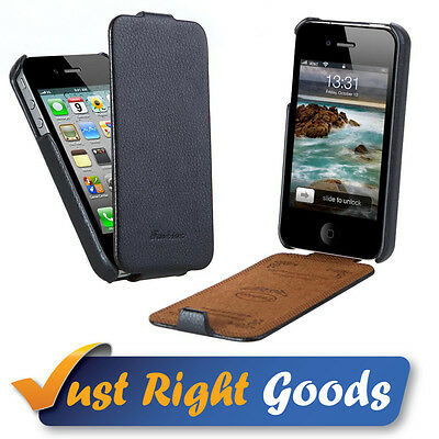 Real Genuine Leather Flip Case Black For iPhone 4 & 4S + FREE Screen Protector!