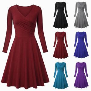 Women-Basic-V-neck-Long-Sleeve-Stretch-Slim-High-Waist-A-Line-Ruched-Flare-Dress