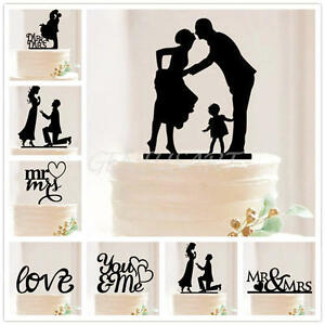 Mr-Mrs-Wedding-Cake-Topper-Bride-amp-Groom-Love-Silhouette-Party-Favors-Dec-Gift