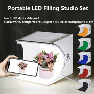 Adjustable Photo Studio Photography Light Box 6 Color Backdrop Lighting Room Kit