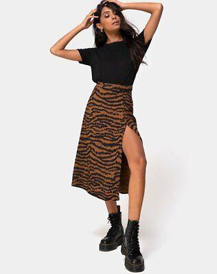 mr95 MOTEL ROCKS Saika Midi Skirt in Rar Leopard Brown