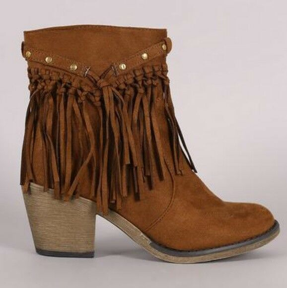 SARAH SIAH  Tan Suede Studded Fringe Chunky Heeled Western Ankle Boots