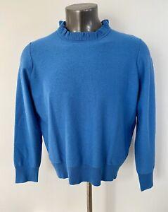 New-J-Crew-Ruffle-Neck-Pullover-Sweater-Blue-Sz-XXL-H7191-Plus-Size-NWT