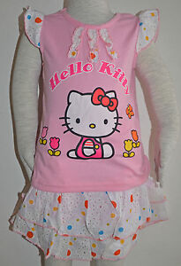 New-Girls-Hello-Kitty-Top-and-Skirt-Set-Size-1-2-3-4-5-6
