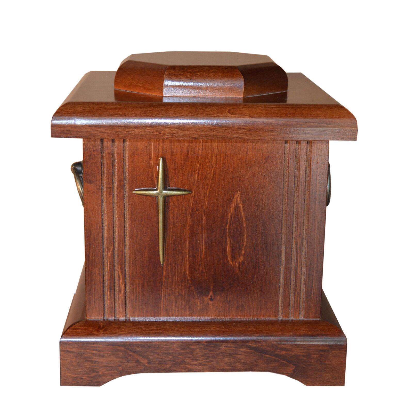 Beau bois solide cercueil avec croix et poignées enterrement Urne de cendres