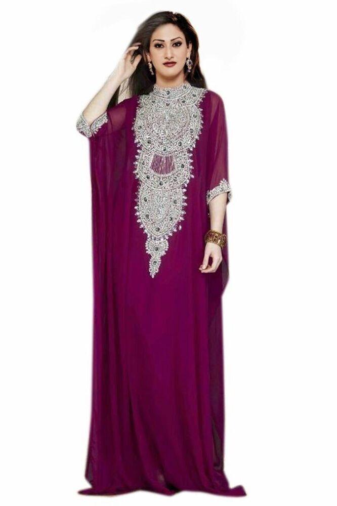 2020 Élégant Dubaï Femme Farasha Maxi Georgette Mariage Robe Robe 1166