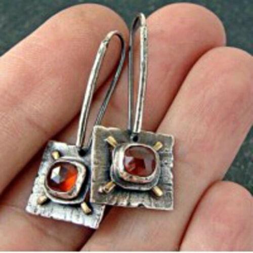 Ethnic Square 925 Silver Red Ruby Oreille Crochet Rivets Femmes Dangle Boucles d/'oreilles pendantes