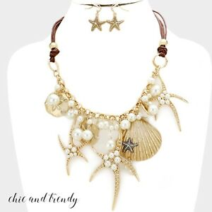 HIGH-END-SEA-LIFE-GOLD-STARFISH-VERY-CHUNKY-FASHION-NECKLACE-JEWELRY-SET-TRENDY