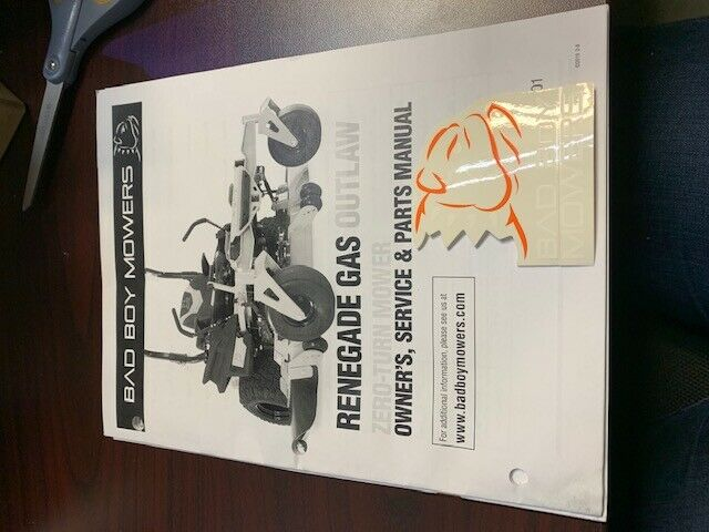 Bad Boy Mowers Renegade Gas Outlaw Zero Turn Mower Owners Manual Guide