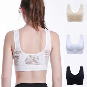 Women Soft Air Permeable Cool Summer Sport Yoga Wireless Bra Breathable Lingerie