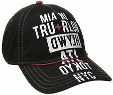 NEW TRUE RELIGION MEN CLASSIC BASEBALL TRUCKER HAT CAP TOUR CITIES BLACK TR1952
