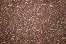 "COUNTRY WESTERN COWBOY TOOLED LEATHER LOOK FABRIC from  MODA ""KING OF THE RANCH"""