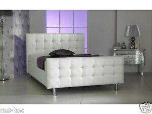 Image Is Loading CUBE DIAMANTE FAUX LEATHER BED WHITE CRYSTALS 3FT