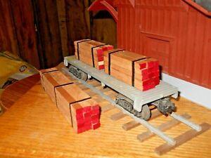 O-Scale-O-Gauge-Flat-Car-Load-Real-Cherry-Lumber-Handmade
