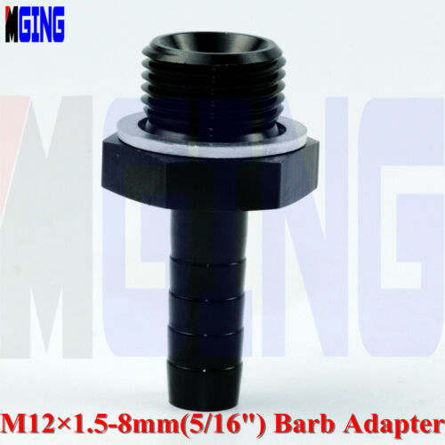 """M12X1.5 to 5//16/"""" Straight Metric Push Lock 8mm Pump Barb Fitting Inlet Adapter"""