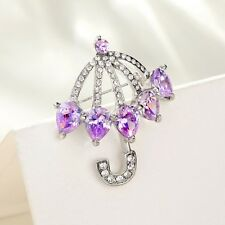 Sparkly Purple Genuine Zircon Clear White Austria Crystal Umbrella Brooch Gift
