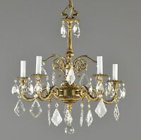 Spanish Brass & Crystal Chandelier c1950 Vintage Antique French Style