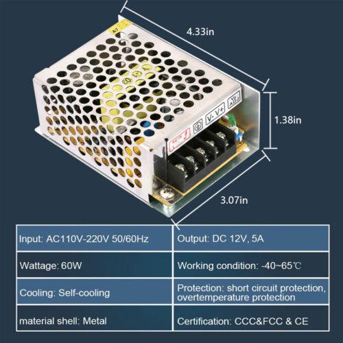Switching Power Supply Driver Adapter AC 110V-220V To DC 12V For LED Strip Light