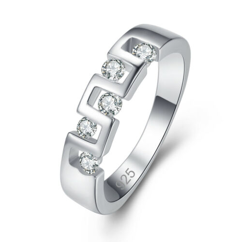 Classic ROUND CUT WHITE TOPAZ Gemstone Silver Fashion Ring Taille 6 7 8 9 cadeaux