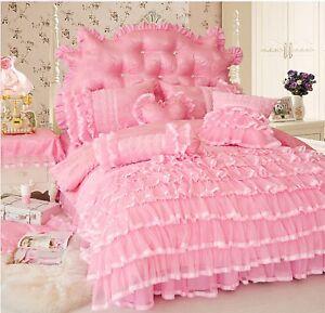 Cotton-Lace-Luxury-Princess-Duvet-Cover-Bedding-Set-King-Queen-Twin-4-7pcs-UPS