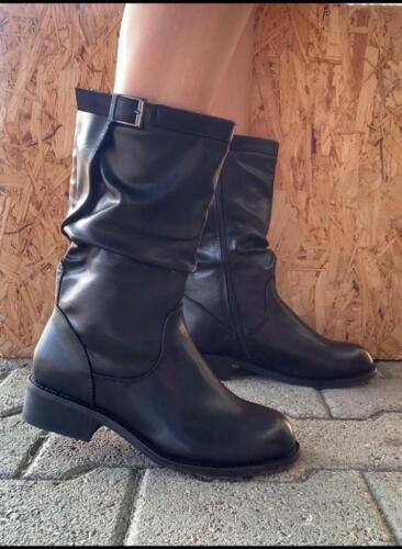 Stivali donna alti scarpe fibbie nero stivaletti tronchetti tacco basso moda new