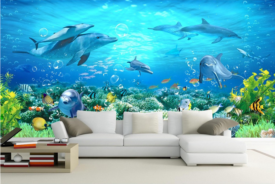 3D Dolphin Blaues Meer 888 Tapete Wandgemälde Tapete Tapeten Bild Familie DE | Lebhaft und liebenswert  | Angenehmes Aussehen  |