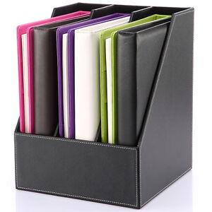 Image Is Loading Wooden Faux Leather Desk File Holder Box Doent