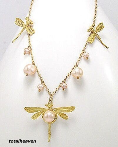 """17/"""" Dragonfly Necklace 18k Yellow Gold Plated Gorgeous Spring Feminine Look"""