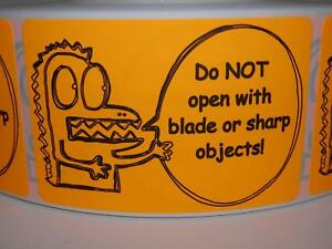 Do Not Open With Blade Or Sharp Objects 2x3 Sticker Label Fluor Orange 250 Rl Ebay