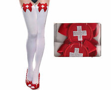 Red Cross Bow Snow White Nyon Thigh-Highs Stockings (Reg)#8616-4