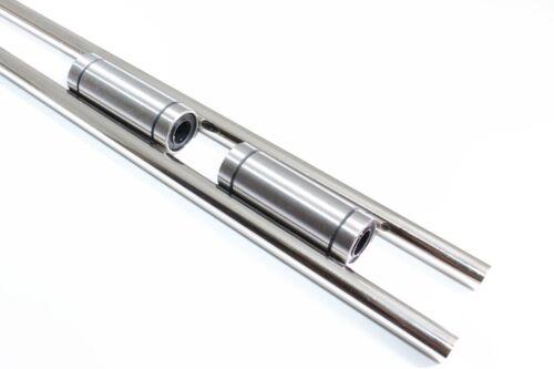 "2 x 10mm 19/"" Hardened Shafts /& 2 LM10LUU Rod Rail Long Linear Bearing Motion CNC"