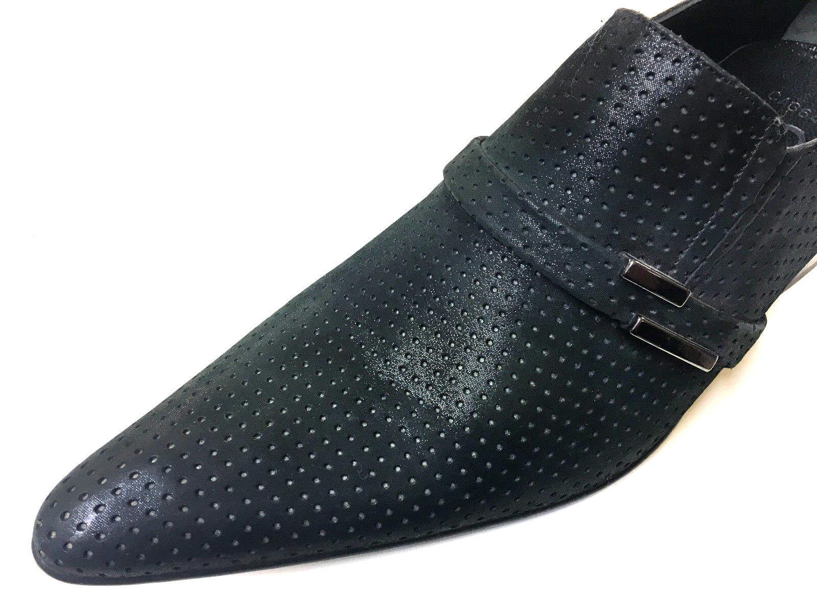Chelsy Exclusivo Cuero Zapatos Hombre Negro Antracita