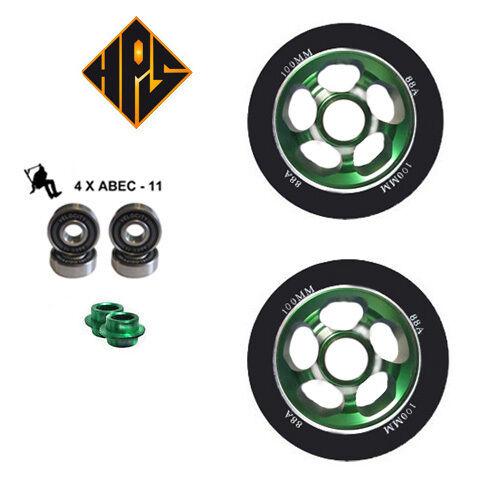 2x Pro Stunt Scooter Verde solido Metallo Core Ruote 110mm 88 ABEC 9 Cuscinetti 11