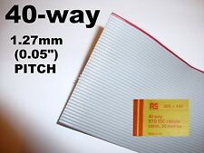 """40 Way IDC Flat Ribbon Cable Grey 1.27mm (0.05"""") pitch for IDC Connector 1 metre"""