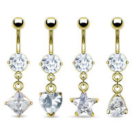 4pcs 14kt Gold Plated Gem Shapes Belly Rings Navel Wholesale Body Jewelry (b94)