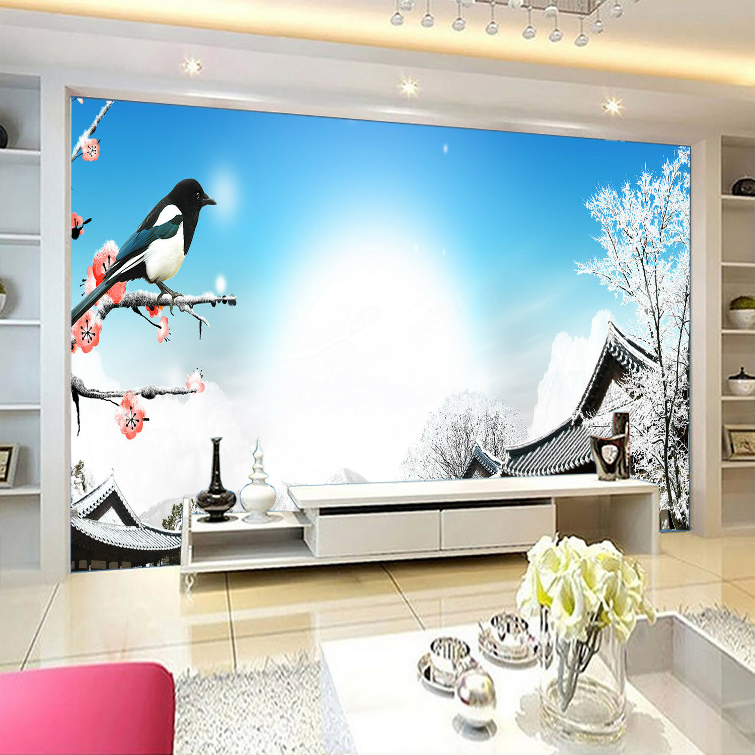 3D Sun Houses Bird 43 Wall Paper Wall Print Decal Wall Deco Indoor Mural Carly