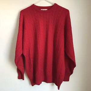 Vintage-Pringle-Of-Scotland-Sweater-Cableknit-Pure-Wool-Red-Men-s-Large-XL-GUC