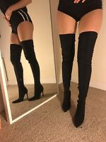 Size 4 Public Desire DAZZLE Black Lycra Tight Fit Thigh High Boots Heels NEW