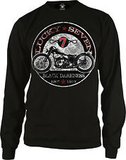 Lucky Seven 7 Black Darkness Bobber Motorcycle Distressed T SHIRT M TO 6XL