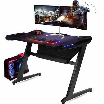 Gaming Desk Computer Table Z-Shaped with LED Light ...