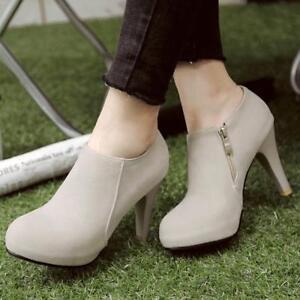 Women-Casual-Ankle-Boots-Platform-Suede-Zip-Plus-Size-High-Heel-Boots-Shoes-Q327