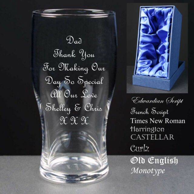 Personalised Tulip Pint Glass,Wedding Gift ,Father of the Bride/Groom Satin Box