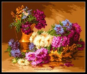 Chrysanthemums-Flowers-Chart-Counted-Cross-Stitch-Pattern-Needlework-Xstitch